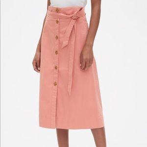 GAP Tie-Belt Button-Front Midi Skirt Coral